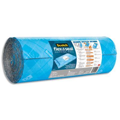 Rouleau d'expédition Scotch Flex & Seal - polyéthylène à bulles - à découper - étanche - 38 cm x 6 m - bleu