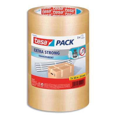 Adhésifs d'emballage Extra Strong Tesa - PVC - 52 microns - H50 mm x L66 m - transparent - lot de 3 (photo)