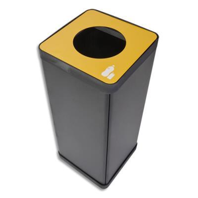 Poubelle de tri sélectif Alba - pour déchets plastiques - L31 x H73 x P31 cm - acier et abs - 50 litres - jaune