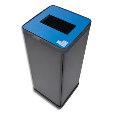 Poubelle de tri sélectif Alba - pour déchets papiers - L31 x H73 x P31 cm - acier et abs - 50 litres - bleu