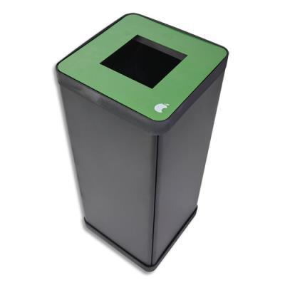 Poubelle de tri sélectif Alba - pour déchets alimentaires - L31 x H73 x P31 cm - acier et abs - 50 litres - vert