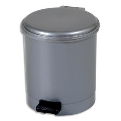 Poubelleà pédale CEP - gamme trio - plastique pp recyclable - anse en plastique - D23 x H26 cm - 6 Litres - gris silver