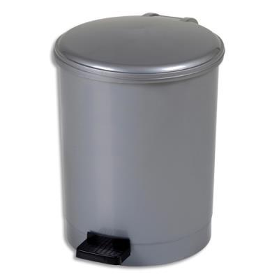 Poubelle à pédale CEP - gamme trio - plastique pp recyclable - anse en plastique - D27 x H34 cm - 12 Litres - gris silver