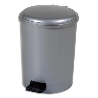 Poubelle à pédale CEP - gamme trio - plastique pp recyclable - anse en métal - D31 x H41,5 cm - 20 Litres - gris