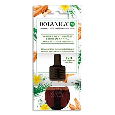 Rechargepour diffuseur électrique Botanica Airwick - parfum Vétiver des Caraïbes et bois de Santal - 19 mL