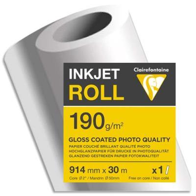 Papier couché blanc Clairefontaine - brillant - 190g - pour traceur 0,914 x 30 m - bobine