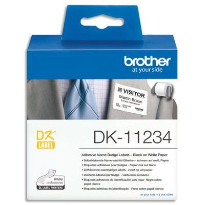 Etiquettes badges auto-adhésif DK11234 Brother - textile - 60x86mm - rouleau de 260