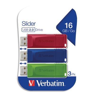 Clés USB 2.0 Verbatim - rétractable - 16 Go - rouge/bleu/vert - pack de 3 (photo)