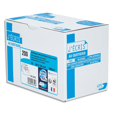 Enveloppe recyclée GPV - format C5 - 162 x 229 mm - fenêtre 45 x 100 mm - blanches - auto-adhésives PEFC - 100g - boîte de 200 (photo)