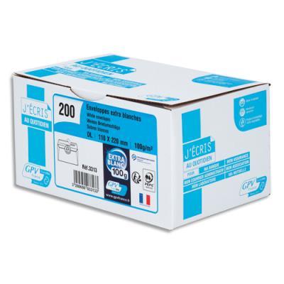 Enveloppe recyclée GPV - format DL - 110 x 220 mm - blanches - auto-adhésives PEFC - 100g - boîte de 200