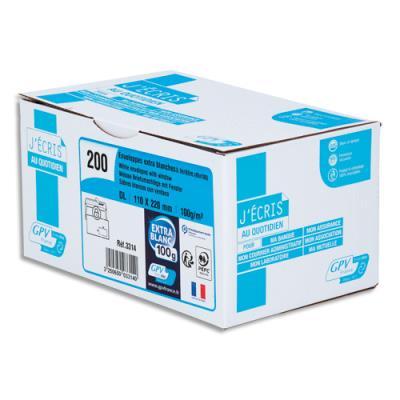 Enveloppe recyclée GPV - format DL - 110 x 220 mm - fenêtre 35 x 100 mm - blanches - auto-adhésives PEFC - 100g - boîte de 200