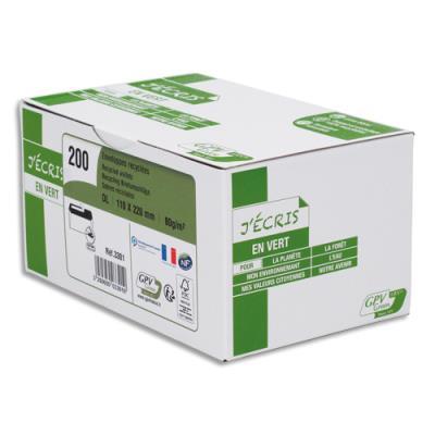 Enveloppe recyclée GPV - format DL - 110 x 220 mm - extra blanches erapure - 80g - boîte de 200