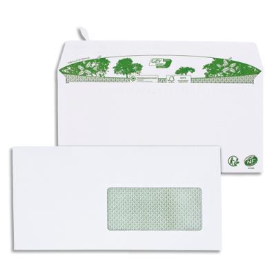 Enveloppe recyclée GPV - format DL - 110 x 220 mm - fenetre 45 x 100 mm - extra blanches erapure - 80g - boîte de 200
