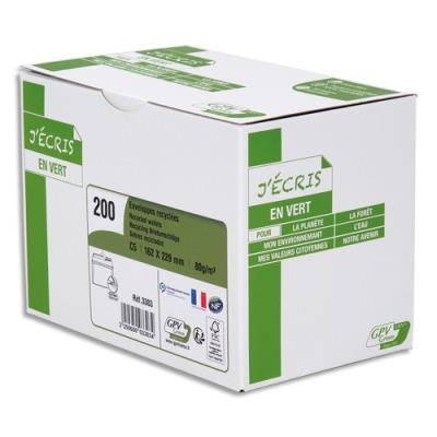 Enveloppe recyclée GPV - format C5 - 162 x 229 mm - extra blanches erapure - 80g - boîte de 200 (photo)