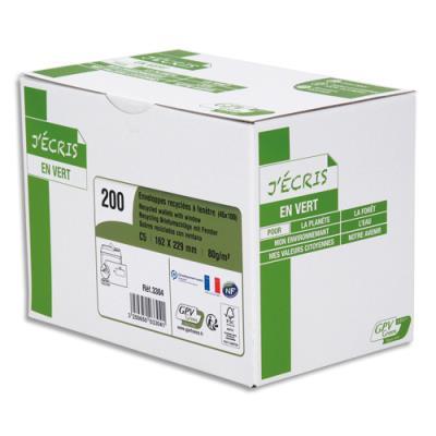 Enveloppe recyclée GPV - format C5 - 162 x 229 mm - fenêtre 45 x 100 mm - extra blanches erapure - 80g - boîte de 200 (photo)