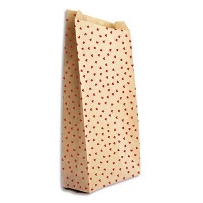 Pochettes cadeau en kraft - format 11 x 21 cm + 5 cm - impression cœur - sachet de 50