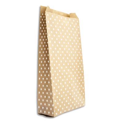 Pochettes cadeau en kraft - format 15 x 31 cm + 6 cm - impression étoile - sachet de 50 (photo)