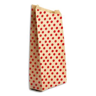 Pochettes cadeau en kraft - format 21 x 37 cm + 7 cm - impression pois - sachet de 50