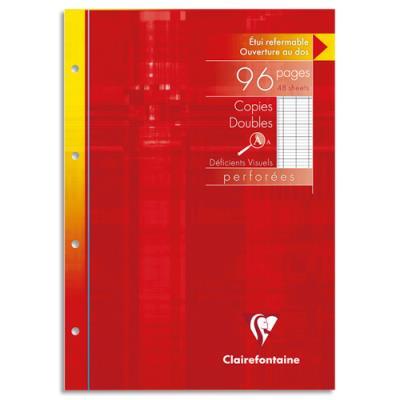 Copies doubles Clairefontaine - 90g - perforées - 21x29,7cm - séyès - pour déficient visuel - blanches - etui de 96