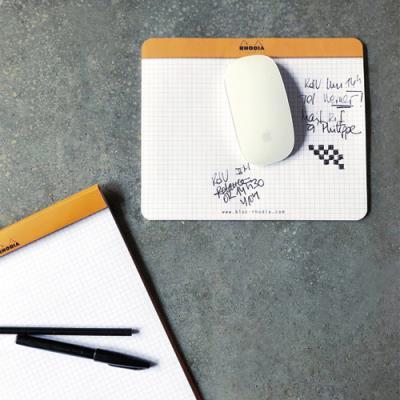Bloc de direction/tapis souris Rhodia - 30 feuilles - format 19 x 23 cm - réglure 5x5 - livré en présentoir - orange