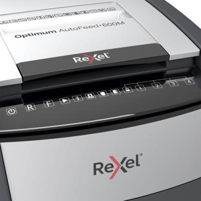 Destructeur Rexel Optimum Auto+600M - coupe micro-particules - 600 feuilles auto / 10 feuilles manuel - P5 - corbeille 110 litres
