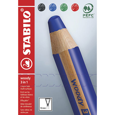 Crayons multi-talents woody 3in1 Stabilo - noir/bleu/rouge/vert - etui en carton de 4 (photo)