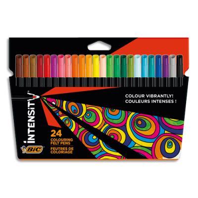 Crayon de couleurs  Bic Intensity Up - coloris assortis - corps triangulaire - pochette de 24 (photo)