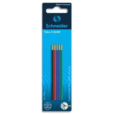 Recharges pour stylo 4 couleurs Schneider - 2 bleus / 1 noir / 1 rouge / 1 vert