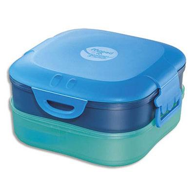 Boîte à déjeuner 3 en 1 Maped - capacité 1,4 litres - concept enfants - en PP - 3 compartiments - étanche - bleu