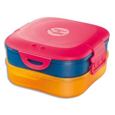 Boîte à déjeuner 3 en 1 Maped - capacité 1,4 litres - concept enfants - en PP - 3 compartiments - étanche - rose