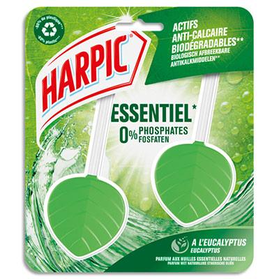 Blocs cuvette Galet WC Essentiel Harpic - parfum Eucalyptus - actifs anticalcaire biodégradables - boite de 2 (photo)