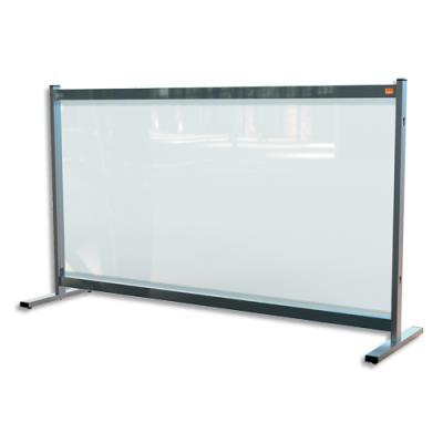 Séparateur de bureau Nobo - film en PVC transparent - large - sur pied mobile - L147 x H86 x P41 cm