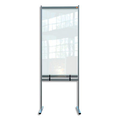 Cloison de séparation Nobo - bas ajourée - film PVC transparent - medium - sur pied mobile - L78 x H206 x P61 cm