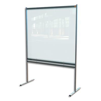 Cloison de séparation Nobo - bas ajourée - film PVC transparent - large - sur pied mobile - L148 x H206 x P61 cm (photo)