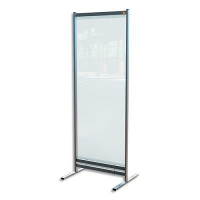Cloison de séparation Nobo - film PVC transparent - medium - sur pied mobile - L78 x H206 x P61 cm (photo)