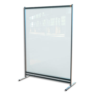 Cloison de séparation Nobo - film PVC transparent - medium - sur pied mobile - L148 x H206 x P61 cm (photo)