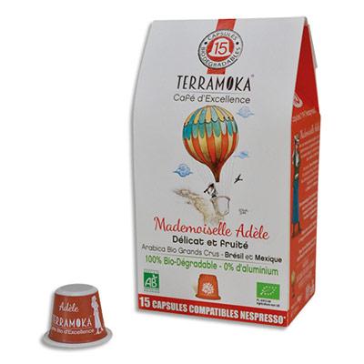 Capsules de café bio Terramoka Arabica Brésil et Mexique - biodégradables - compatibles Nespresso - paquet de 15