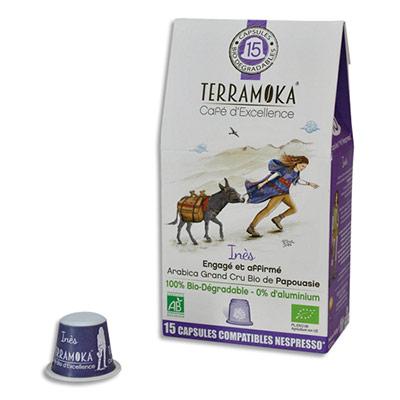 Capsules de café bio Terramoka Arabica de Papouasie - biodégradables - compatibles Nespresso - paquet de 15