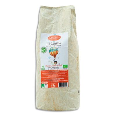 Café bio en grains Terramoka Arabica du Brésil et du Mexique - paquet de 1 Kg