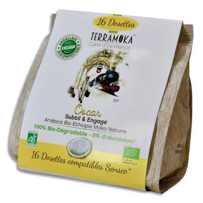 Dosettes de café bio Terramoka Arabica d'Ethiopie - compatibles Senseo - paquet de 16