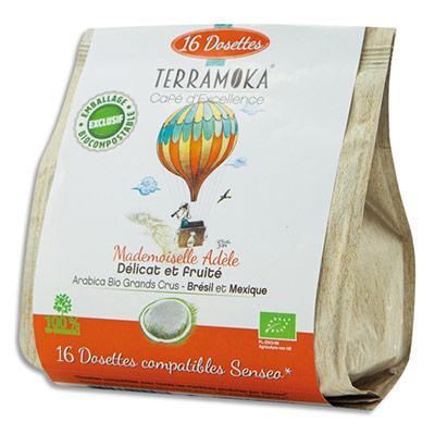 Dosettes de café bio Terramoka Arabica Brésil et Mexique - compatibles Senseo - paquet de 16