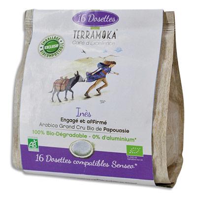 Dosettes de café bio Terramoka Arabica de Papouasie - compatibles Senseo - paquet de 16