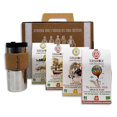 Etuis de 15 capsules de Café bio Terramoka - biodégradables + 1 travel mug - coffret de 4