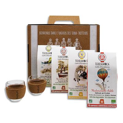 Etuis de 15 capsules de Café bio Terramoka - biodégradables + 2 verres pavina - bande en liège - coffret de 4