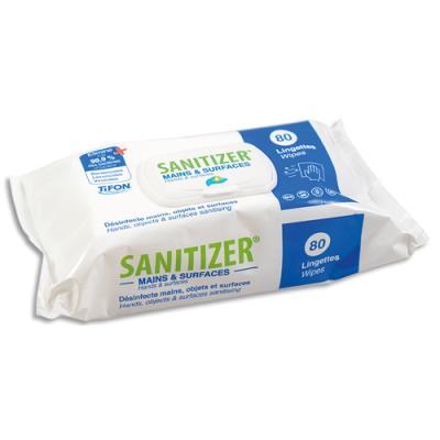 Lingettes Sanitizer Tifon pour mains et surfaces - actif sur coronavirus - 17 x 20 cm - paquet de 80