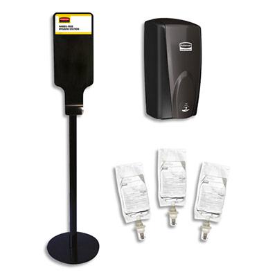 Station de désinfection AutoFoam Rubbermaid - sans contact - noir et 3 recharges de nettoyant sans alcool