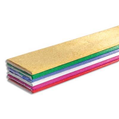 Paquet de 6 feuilles de crépon métallisé Clairefontaine 2,5x0,5m couleurs assorties