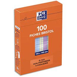 Fiches bristol Hamelin - 105 x 148 mm - 5x5 - coloris assortis - boîte de 100