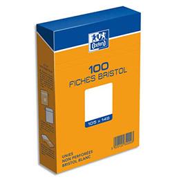 Boîte de 100 fiches bristol Oxford - 10,5 x 14,8 cm (A6) - uni blanc - Réf : 234000H (photo)