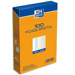 Boîte de 100 fiches bristol Oxford - 12,5 x 20 cm - 5x5 - coloris assortis - réf : 235029H (photo)